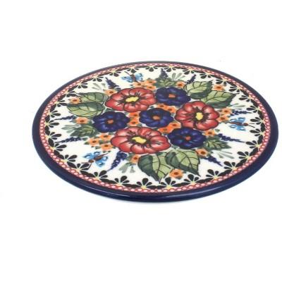 Blue Rose Polish Pottery Floral Butterfly Trivet