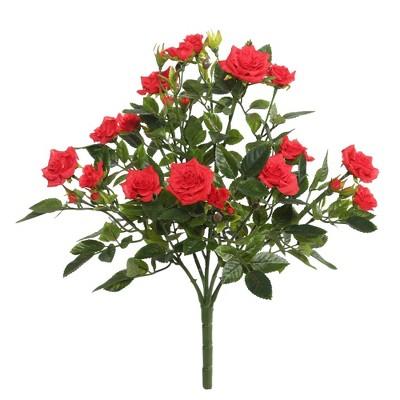 """Artificial Mini Diamond Rosa Bush (15"""") Red - Vickerman"""