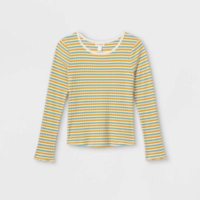 Girls' Rib-Knit Printed Long Sleeve Top - Cat & Jack™