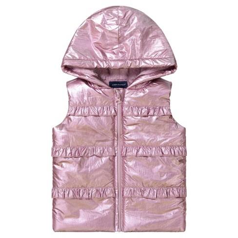 Andy & Evan  Toddler Girls Hooded Sherpa Vest - image 1 of 4