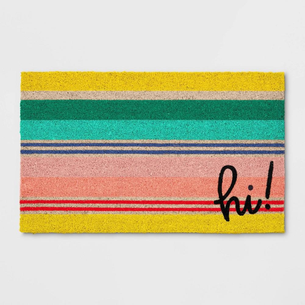 Hi Stripe Coir Doormat Yellow