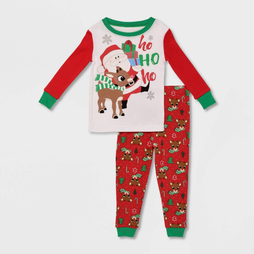 Image of Baby Boys' 2pc Rudolph the Red-Nosed Reindeer 'Ho Ho Ho' Pajama Set - White/Red 12M, Boy's, Red/White