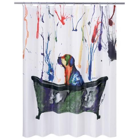 Tub Dog Shower Curtain White Allure Home Creation