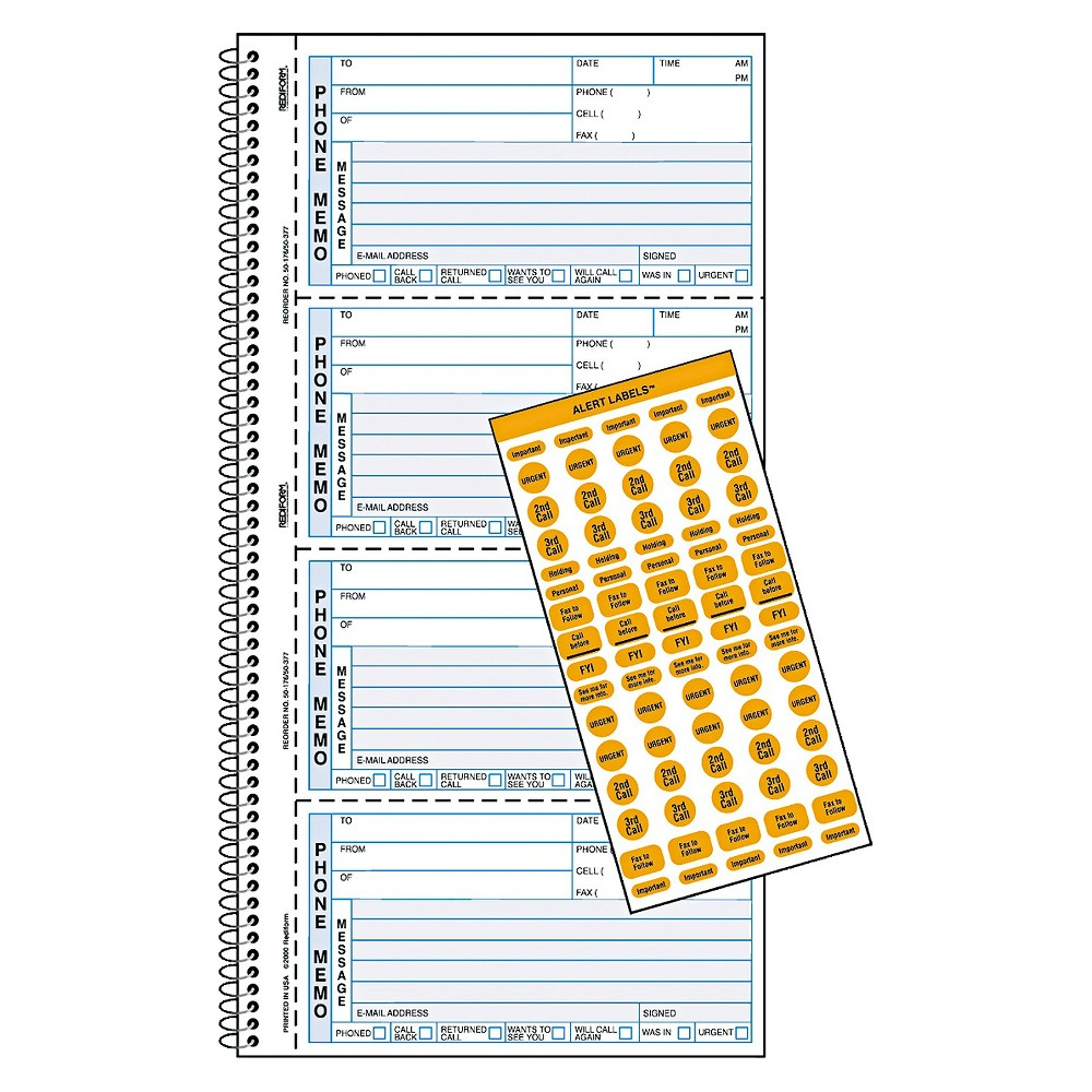 Image of Rediform Wirebound Message Book, 2 3/4 x 5 3/4, Carbonless Copy, 400 Forms, 120 Labels