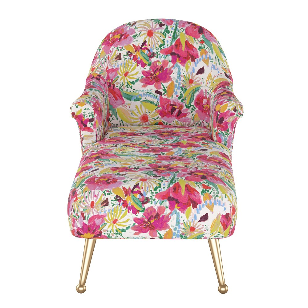 Comfrey Chaise Lounge with Brass Legs Bright Floral - Opalhouse