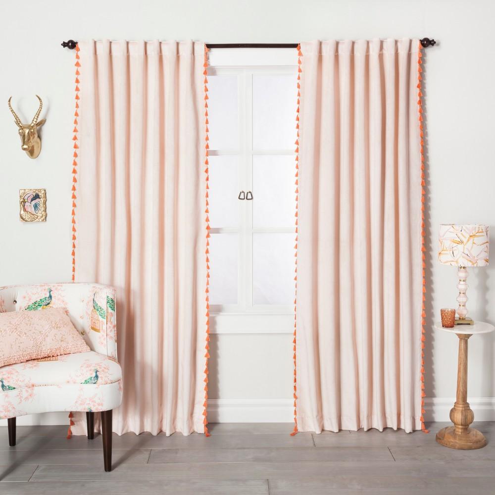 63 34 X54 34 Velvet Curtain Panel With Orange Tassels Blush Opalhouse 8482