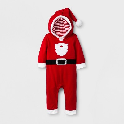 Baby Boys' Santa Suit Hooded Long Sleeve Romper - Cat & Jack™ Red 0-3M