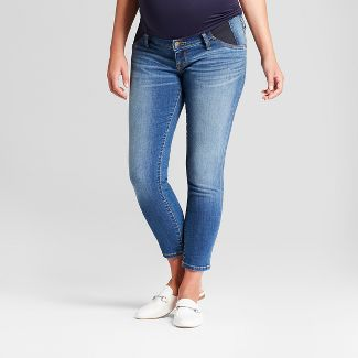 Maternity Inset Panel Skinny Crop Jeans - Isabel Maternity by Ingrid & Isabel™ Medium Wash 6