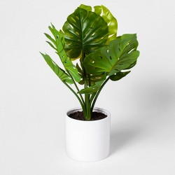 "21"" x 12"" Artificial Monstera Plant In Pot Green/White - Project 62™"