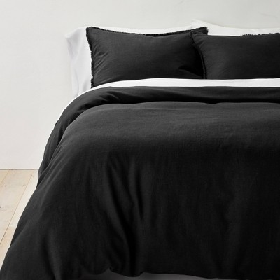 King Heavyweight Linen Blend Duvet Cover & Sham Set Washed Black - Casaluna™