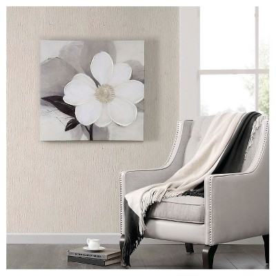 """30"""" Square Midday Bloom Canvas With Hand Embellishment White"""