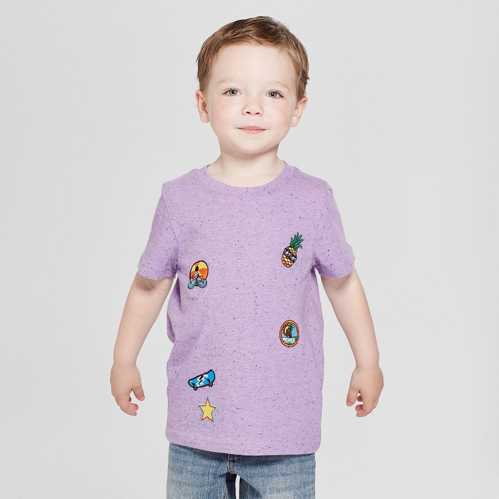 Toddler Boys' Patches Short Sleeve T-Shirt - Cat & Jack Lilac 3T, Purple
