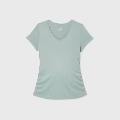 Maternity Short Sleeve V-Neck Side Shirred T-Shirt - Isabel Maternity by Ingrid & Isabel™ Marble XS