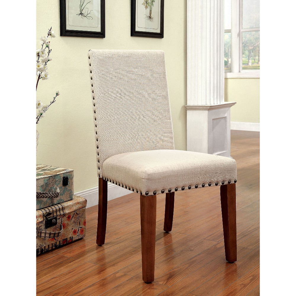 Sun & Pine Nail head Trimmed Fabric Padded Side Chair Wood/Natural Tone (Set of 2)