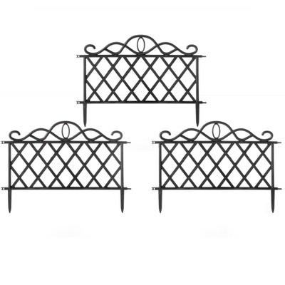 Gardenised Plastic Garden Edging Border Fence, Flower Bed Barrier, Set of 3