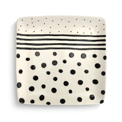 DEMDACO Dots and Stripes Platter White