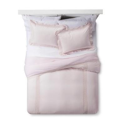 Pink Crochet Trim Linen Blend Duvet Cover & Sham Set (Full/Queen)- Simply Shabby Chic®