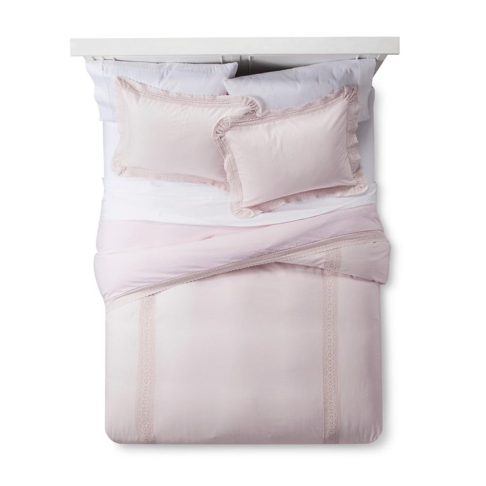Pink Crochet Trim Linen Blend Duvet Cover & Sham Set (Twin) - Simply Shabby Chic