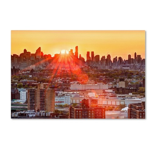 "Trademark Fine Art 24"" x 16"" David Ayash 'Midtown Sunset' Canvas Art - image 1 of 3"