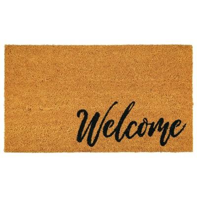 mDesign Rectangular Natural Coir/Rubber Entryway Welcome Doormat
