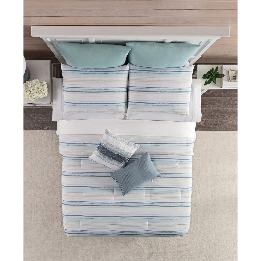 Blue & Yellow Horizontal Stripe Comforter Set (King), Multicolored