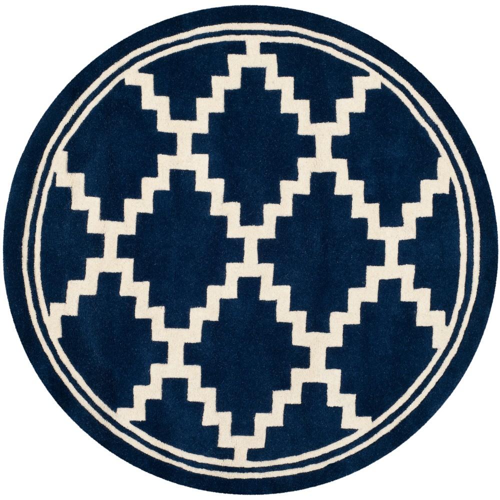 Navy/Ivory (Blue/Ivory) Geometric Tufted Round Area Rug 5' - Safavieh