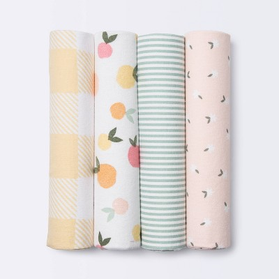 Flannel Baby Blankets Citrus - Cloud Island™ 4pk