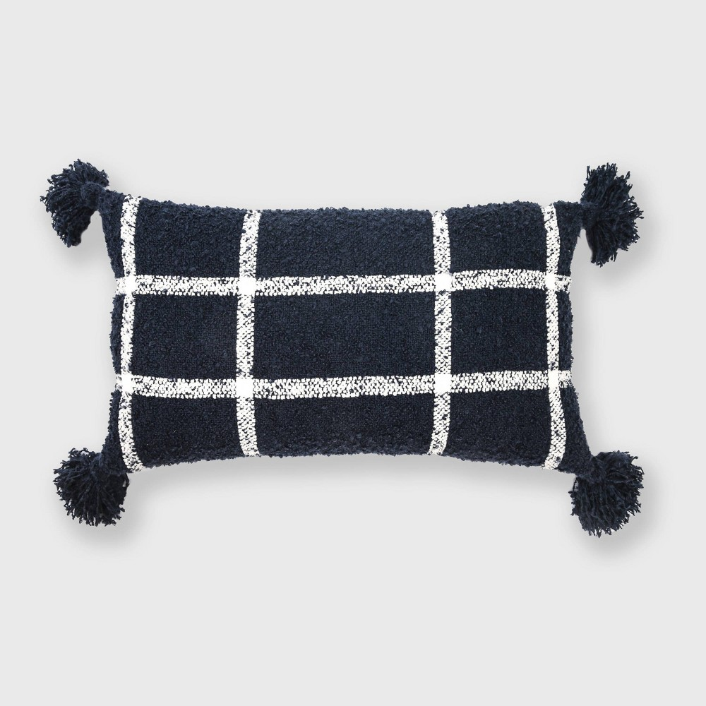 "Image of ""14""""x24"""" Plaid Boucle Woven Throw Pillow Navy - Evergrace"""