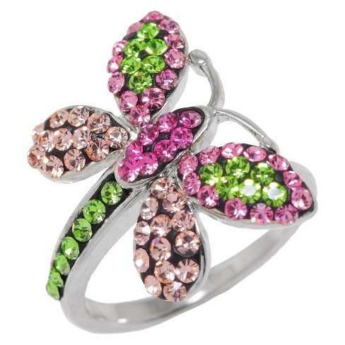 Women's Silver Plated Butterfly Ring with Ring - Pink & Green - image 1 of 1