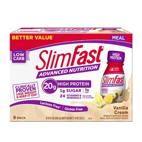 SlimFast Advanced Nutrition High Protein Meal Replacement Shake - Vanilla Cream - 11 fl oz/8pk - image 1 of 3