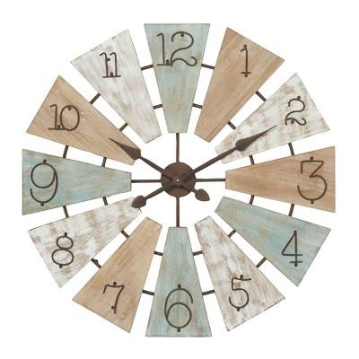 "32"" x 32"" Extra Large Round Wood Windmill Faced Wall Clock - Olivia & May"