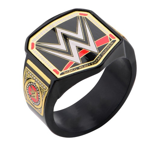 Men's WWE Championship Title Stainless Steel Black IP Ring - image 1 of 2