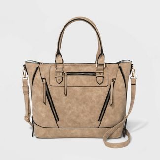 VR NYC Zipper Satchel Handbag - Tan