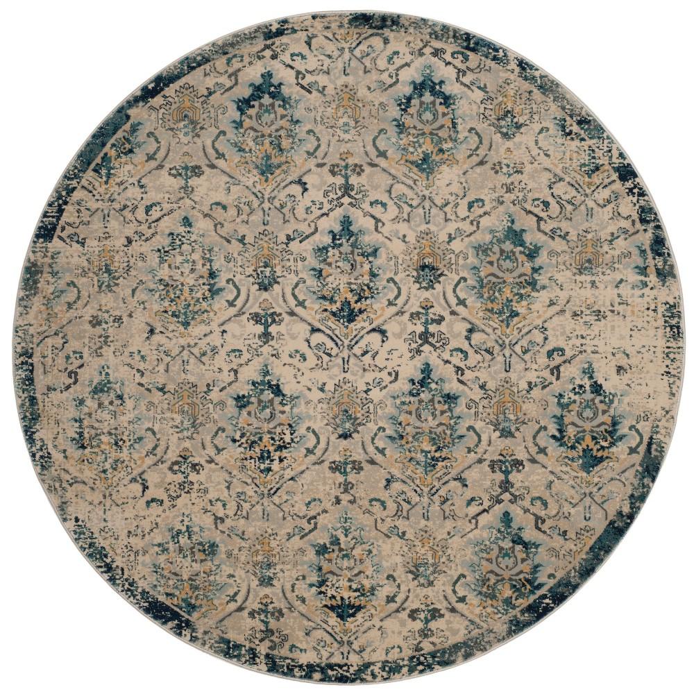 6'7 Floral Round Area Rug Beige/Navy - Safavieh