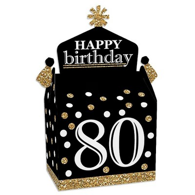 Big Dot of Happiness Adult 80th Birthday - Gold - Treat Box Party Favors - Birthday Party Goodie Gable Boxes - Set of 12