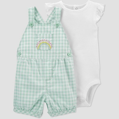 Baby Girls' Gingham Rainbow Top & Bottom Set - Just One You® made by carter's Mint