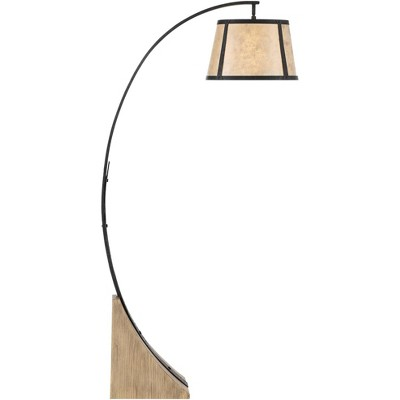 Franklin Iron Works Rustic Mission Arc Floor Lamp Dark Gray Wood Base Mica Shade for Living Room Reading Bedroom Office