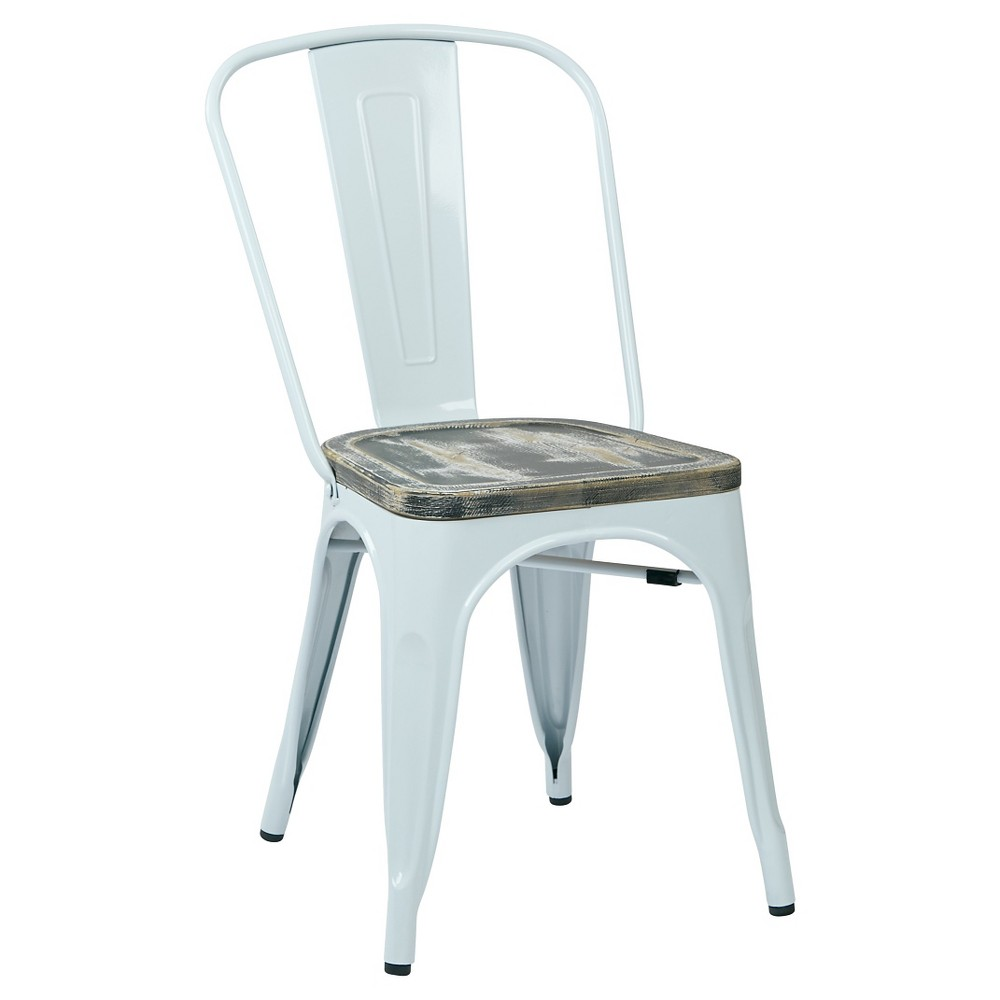 Set of 2 Bristow Metal Chair with Vintage Distressed Wood Seat White - Osp Home Furnishings