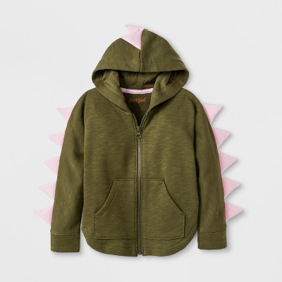 Toddler Girls' Dino Hoodie Sweatshirt - Cat & Jack™ Spring Olive 12M