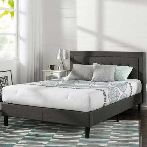 Dupont Tufted Upholstered Platform Bed Queen Dark Gray Sleep