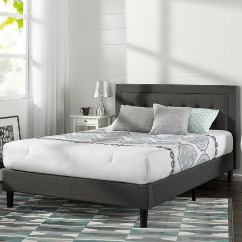 Dupont Tufted Upholstered Platform Bed Queen Dark Gray Sleep Revolution Target
