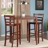 3 Piece Inglewood Set High Table with Ladder Back Bar Stools Wood/Walnut - Winsome - image 2 of 4