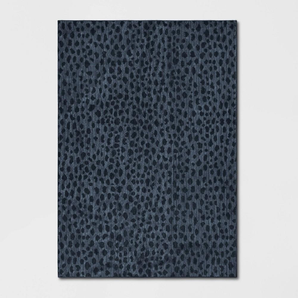 Leopard Spot Woven Area Rug Blue