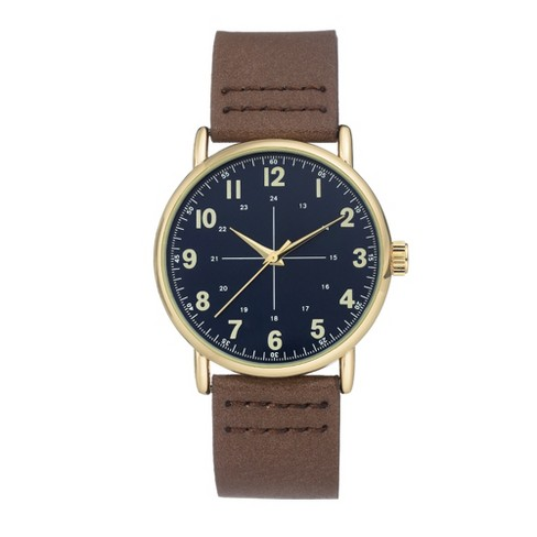 Men's Easy Read Strap Watch - Goodfellow & Co™ Brown - image 1 of 1