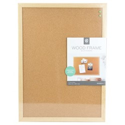 "Ubrands Cork Bulletin Board Wood Frame 17""x23"" Brown"