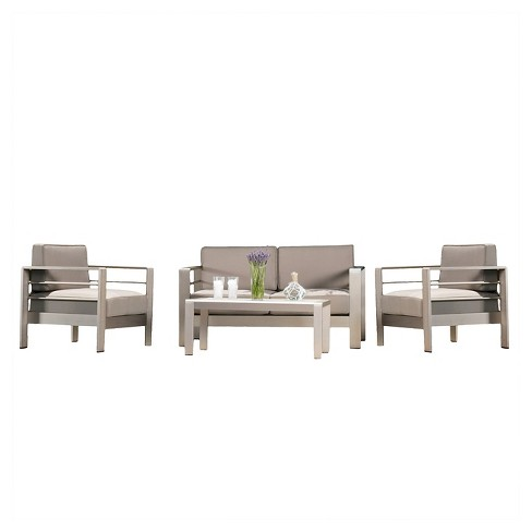 Cape Coral 4pc Cast Aluminum Patio Loveseat Set with Cushions - Silver - Christopher Knight Home - image 1 of 4