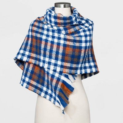 Women's Plaid Blanket Scarf - A New Day™ Dark Blue