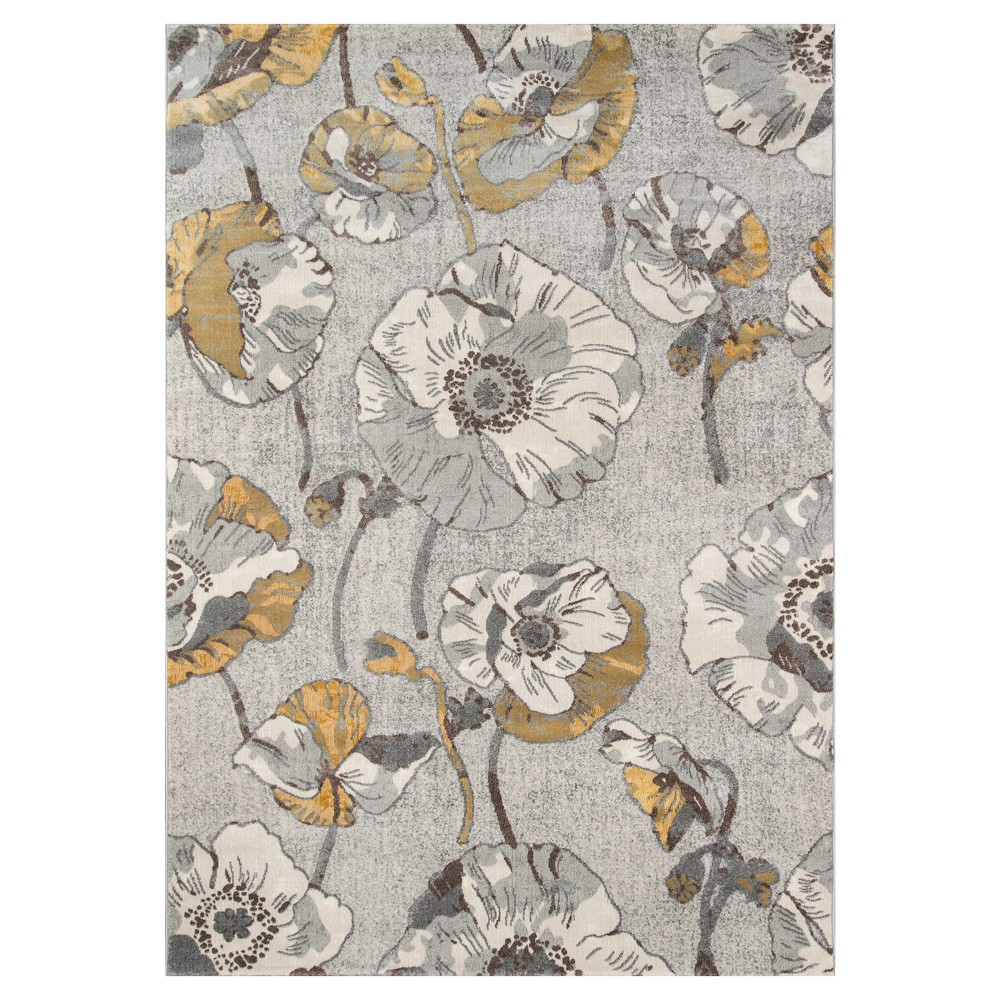 Sterling Gray Floral Loomed Area Rug 5'3