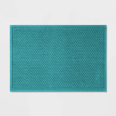 "21""x30"" Performance Solid Bath Mat Turquoise - Threshold™"