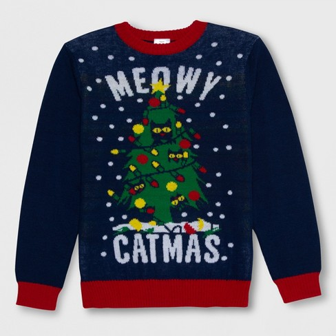73e5dcf2381 Well Worn Boys  Meowy Ugly Christmas Sweater - Navy M   Target